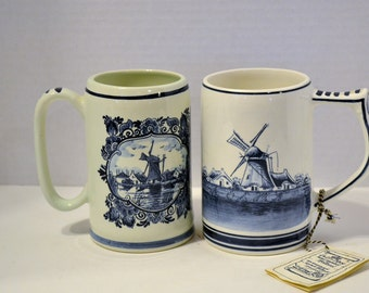 Vintage Delft Stein Set of 2 Blue and White Hand Painted Blauw Holland PanchosPorch