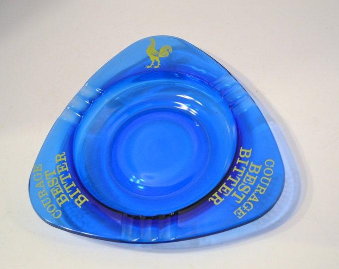 Vintage Cobalt Blue Glass Ashtray Courage Best Bitter Rooster Organizer Bowl Catchall PanchosPorch
