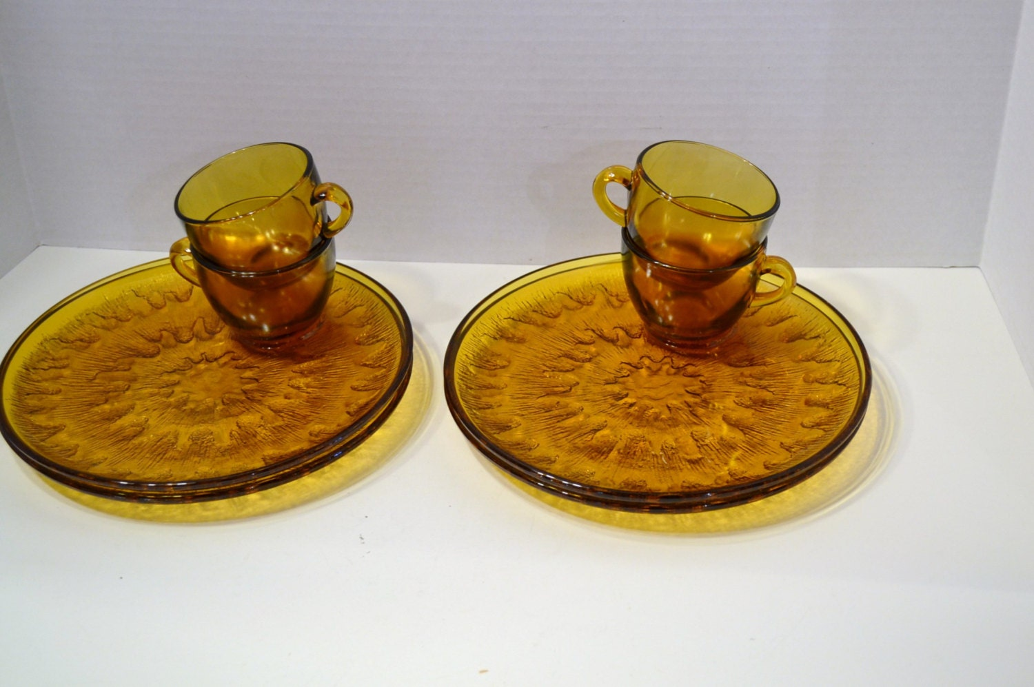 Four vintage amber glass snack sets indiana by