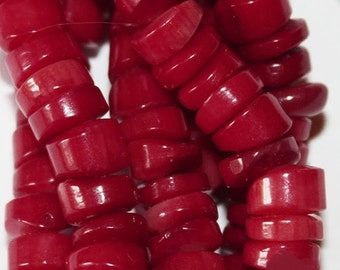 """Red Coral Beads, Red Coral Heishi beads 9 mm x 3 mm, 16"""" strand, A-Quality"""