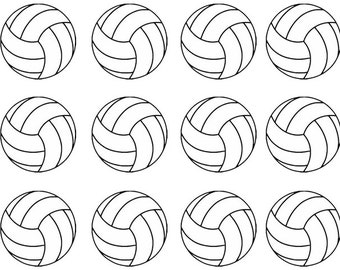 """12 Volleyball Temporary Tattoos, 1.25"""" each."""