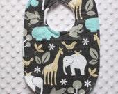 Baby Boy Bib // Jungle Animal Bib // Elephant Bib // Giraffe Bib // Michael Miller Zoology Bib // Newborn Bib // Toddler Bib