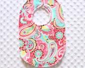 Fuchsia and Aqua Paisley Bib // Baby Girl Bib // Newborn Baby Bib // Toddler Bib // Paisley Bib // Fuchsia Bib // Aqua Bib // Shower Gift