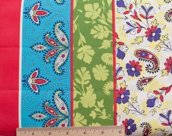 Design Loft freespirit fabric Garden Field Double Border PWFS010 Gala stripe floral blue red sewing quilting 100% cotton fabric by the yard