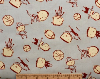 David Walker fabric Boys Will Be Boys Boys Toss DW45 Grey Children sports balls sewing quilting 100% cotton fabric by the yard novelty