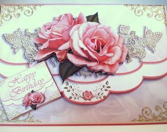 Handmade decoupage,3D birthday card,envelope style,flowers