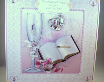 Handmade decoupage,3D Wedding Card, registry book, personalise