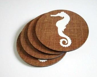 Rustic Coaster Set with Seahorse - Beach House or Nautical Decor Drink Coasters - Hostess, Housewarming or Wedding Gift