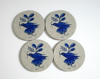 Coaster Set - Blue Delft Bird Coasters - Vintage Style - Drink Coasters - Cottage Decor
