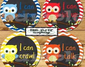 My First Baby stickers Milestone Onepiece Stickers Owl Baby Boy Monthly Stickers Baby Shower  Gift I can stickers chalkboard chalk decals