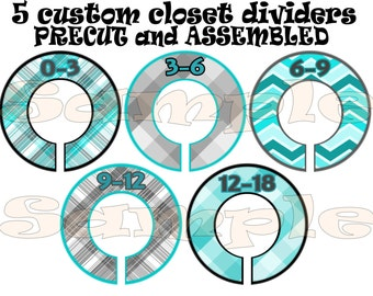 Precut Assembled 5 Custom Baby Boy Closet Dividers Clothes Dividers Size Dividers Hangers Rod dividers nursery organizer shower gift
