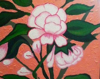 "Original Floral, White Blossom 14"" x 16"" canvas board"