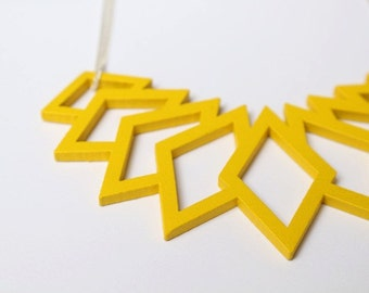 yellow statement necklace, geometrical pendant, wood pendant, statement necklace, laser cut jewelry, silver chain