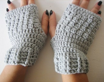 Fingerless Gloves, merino wool fingerless,Crocheted Arm Warmers Gray Accessory Woman, Autumn  Accessory, winter gloves, winter fingerless