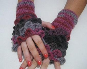 Dragon scale gloves Crocheted Fingerless Gloves Arm Warmers pink, burgundy, light gray, dark gray, Neutral Accessory, winter accessories,