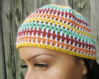 Crocheted Rainbow Mixed Color summer  Beanie Hat, Hand Crocheted Hat Womens Hat  Cloche Hat striped  beanie