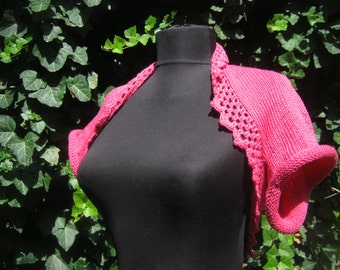 Knitted shrug. Summer shrug. Pink shrug.