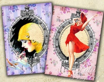 Retro Fashion - Digital Collage Sheet - Digital Cards - Gift Tags - Scrapbook - Decoupage - Gift Cards - Aceo - Atc - Printable Cards