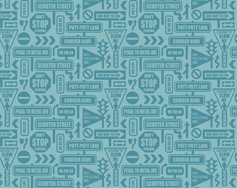 SALE!!  Fat Quarter Cruiser Blvd - Signs in Blue - Cotton Quilt Fabric - Sheri McCulley Studio for Riley Blake Designs (W793)