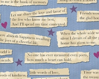 One Yard Our House - Words in Blue - Cotton Quilt Fabric - by Tracie Lyn Huskamp for Windham Fabrics (W2137)