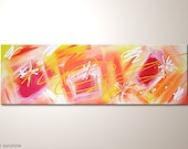 """Fine art painting with mostly red, orange, and yellow colors: """"In sunshine"""" - 47x16 inches. Canvas painting already framed-Streched on frame"""