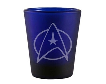 Star Trek Star Fleet Blue Shot Glass - Star Fleet Shot Glass - DEEP Etched Star Fleet Glass - Geeky Glassed