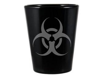 Biohazard Symbol Black Shot Glass - Hazard Symbol Shot Glass - DEEP Etched Hazard Glass - Geeky Glassed