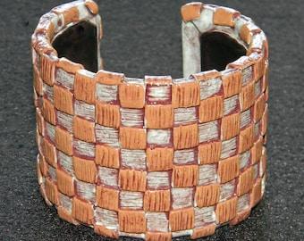 Cuff Bracelet Bangle Distressed Boho Polymer Clay Mid Century Modern Jewelry Women WEAVE21 by ArtCirque Donna Pellegata