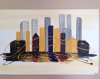 SALE.Abstract cityscape,abstract painting, cityscape, city painting, black painting, silhouette painting,yellow painting,24x36