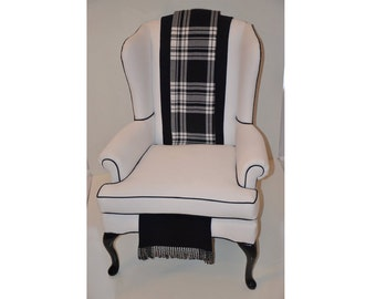 "Sold- CAN Replicate-Vintage White Wingback Chair with a Modern Look ""Perouges"""