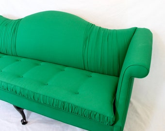 AVAILABLE  Tufted Ruffled Gatsby Emerald Green Camel Back Vintage Sofa  Ruffled Fabric Gathered Fabric Hollywood