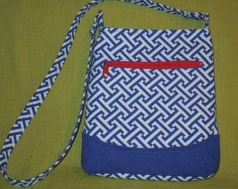 Out and About Blue and White Nautical Crossbody Bag/Vacation/Shopping/Shoulder Bag/Hip Bag