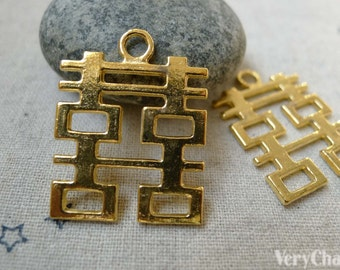 10 pcs Gold Tone Double Happiness Wedding Decoration Charms 24x31mm A6077