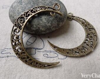 10 pcs Crescent Moon Antique Bronze Pendants Filigree Charms 32x38mm  A6861