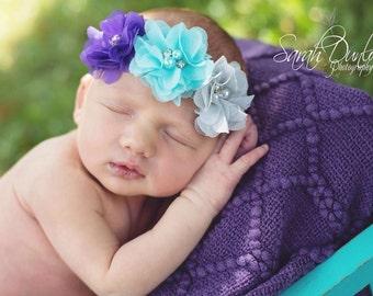 Triple flower headband, baby headband, toddler headband