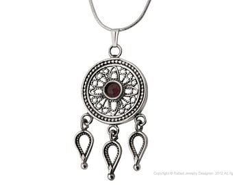 Sterling Silver Round Drops Filigree Necklace Garnet Stone Jewelry