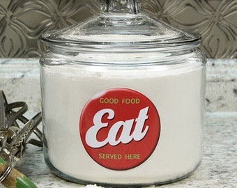 Eat Good Food Glass Kitchen Canister Glass Lid 96 oz #41426