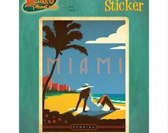 Miami Beach Florida Tropical Vinyl Sticker - #47907