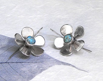 Silver flowers earrings sterling silver earrings with Persian turquoise natural blue turquiose earrings romantic jewelry for her