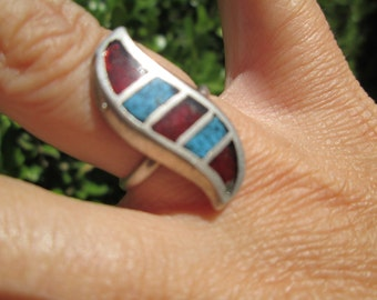 Turquoise, Coral and Sterling Inlay  Ring Size 7.25