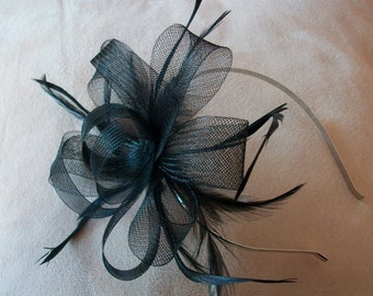 Black Fascinator Headband Black Feather fascinator Weddings Evening wear Races Hair Accessory Hand made