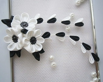 Kanzashi fabric flower hair clip with falls-japanese oriental costume-UK hair accessories, shipping worlwide