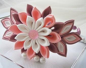 Kanzashi Tsunami fabric flower hair headband - UK hair accessories,shipping worldwide