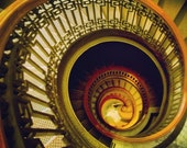 "8x8"" photo spiral staircase lines design pattern gold red ornate"