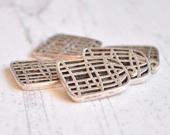 3 Pieces Matte Silver Birdcage Charms, Cage Pendant, Vintage Look Jewelry, Jewelry Supply, Jewelry Findings