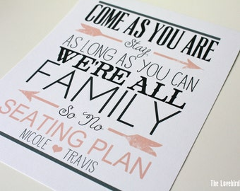 Printable Wedding No Seating Plan Sign - Come as you are - We're All Family -  Color Coordinating  - AA4