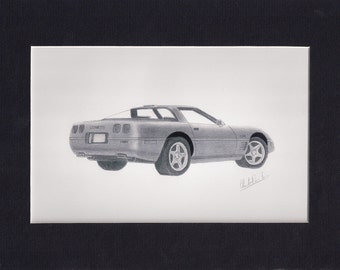 Art, pencil drawing of a 1995 Corvette