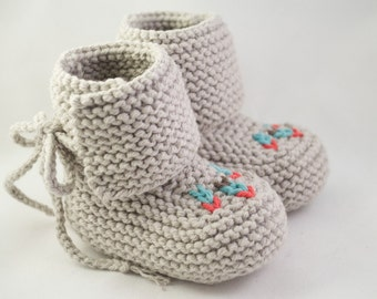 Hip Gray Knit Baby Moccasin Booties
