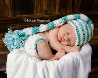 Newborn Baby boy or girl elf hat and diaper cover set crochet photo prop  Color choices