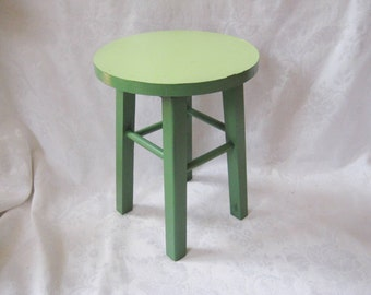 Small round lime green stool, display stand, plant stand, country cottage decor